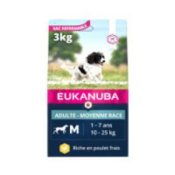 Croquettes pour chien adulte moyennes races Eukanuba Sac 3 kg