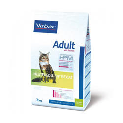 Croquettes Virbac HPM Neutered et Entire pour chat adulte au saumon sac 3 kg