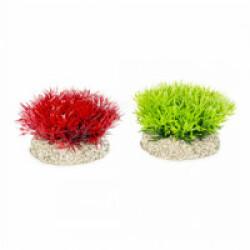 Décoration pour aquarium buisson coloré en plastique flexible vendue à l'unité - hauteur 5 cm