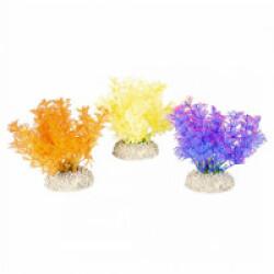 Décoration pour aquarium buisson dense coloré en plastique vendue à l'unité - Orange/Jaune/Mauve