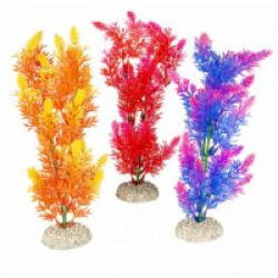 Décoration pour aquarium plante haute rouge/jaune/mauve en plastique vendue à l'unité - Taille M