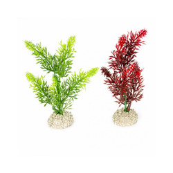 Décoration pour aquarium plante haute rouge/vert en plastique vendue à l'unité - Taille S
