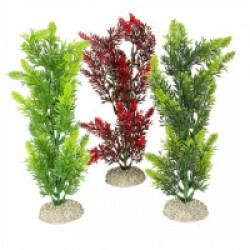 Décoration pour aquarium plante haute rouge/vert en plastique vendue à l'unité - Taille M