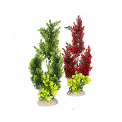 Décoration pour aquarium plante haute rouge/vert en plastique vendue à l'unité- Taille L