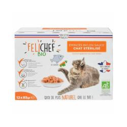 Emincés Felichef Bio pour chat - au saumon (12x85g)