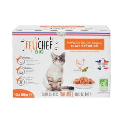 Emincés Felichef Bio pour chat - à la volaille (12x85g)