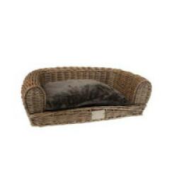 Fauteuil en osier Duvoplus avec coussin pour chien - 100x70x29 cm