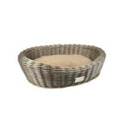 Fauteuil en osier Oval Duvoplus avec coussin pour chien - 57x43x19 cm