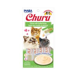Friandises liquides pour chat Churu crème au poulet et pétoncle -  4 tubes de 14g