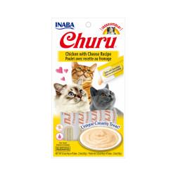 Friandises liquides pour chat Churu crème au poulet et fromage -  4 tubes de 14g