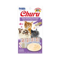 Friandises liquides pour chat Churu crème au poulet et crevette -  4 tubes de 14g