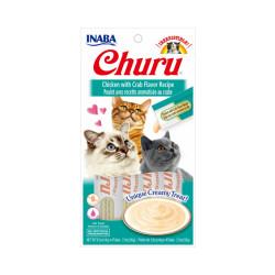 Friandises liquides pour chat Churu crème au poulet et crabe-  4 tubes de 14g