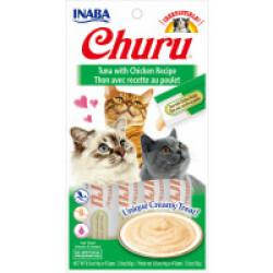 Friandises liquides pour chat Churu crème au thon et poulet -  4 tubes de 14g