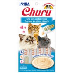 Friandises liquides pour chat Churu crème au thon et pétoncle -  4 tubes de 14g
