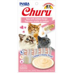 Friandises liquides pour chat Churu crème au thon et saumon -  4 tubes de 14g