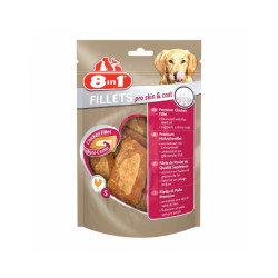 Friandises pour chien Pro Skin & Coat saveur poulet 8 in 1 Fillets 80 g