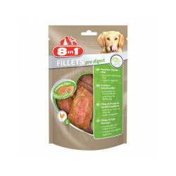 Friandises pour chien spéciales digestion Pro Digest saveur poulet 8 in 1 Fillets 80 g