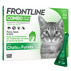 Frontline anti puce et tique Spot on Combo pour chat (pack 3 pipettes 0.5ml)