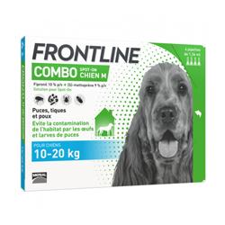 Frontline anti puce et tique Spot On Combo pour chien 10 à 20 kg (4 pipettes 1.34 ml)