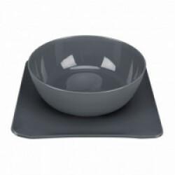 Gamelle 2 en 1 anti-dérapante Yummynator Trixie 1400 ml 24 × 24 cm Gris/gris