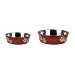 Gamelle en acier inox pour chien et chat anti-dérapante et avec motifs Karlie rouge