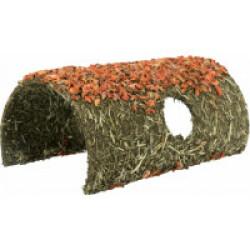 Grotte en fibres naturelles avec céréales et carottes pour rongeurs - 15 × 12 × 25 cm