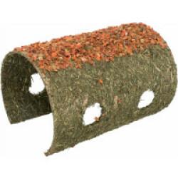 Grotte en fibres naturelles avec céréales et carottes pour rongeurs - 21 × 16 × 30 cm