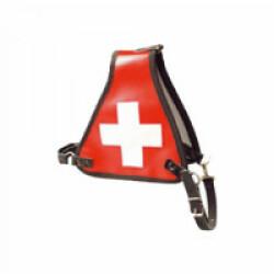 Harnais d'identification rouge avec croix blanche pour chien