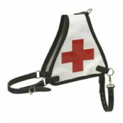 Harnais d'identification blanc avec croix rouge pour chien