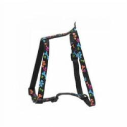 Harnais réglable en nylon pour chien avec motifs pattes Sellerie Chapuis noir Largeur 25 mm Longueur 70-90 cm