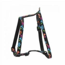 Harnais réglable noir en nylon pour chien motifs pattes Sellerie Chapuis