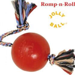 Jolly ball Romp-n-Roll en plastique et corde pour chien T1 Ø 12 cm