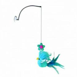 Jouet à suspendre avec plumes et herbe à chat KONG Window Teaser 17 cm