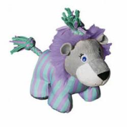 Jouet en peluche lion avec squeaker et corde pour chien KONG Knots S/M 16 cm