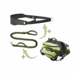 Sac de bât Kn'1® Active Trail T1 + Laisse sport extensible Scoubi™ + Ceinture Canisrun™ + Mousqueton pompier 60 mm