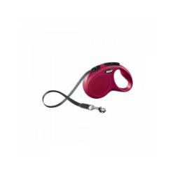 Laisse à enrouleur à sangle New Classic Mini Flexi rouge