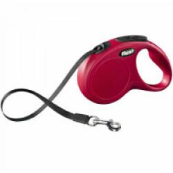 Laisse à enrouleur sangle Flexi Classic pour chien Sangle 5m - S - 15 kg Rouge