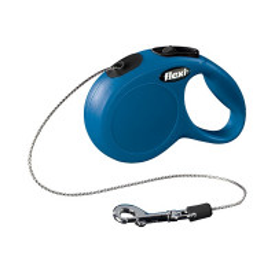 Laisse à enrouleur Flexi New Classic Mini bleu en corde