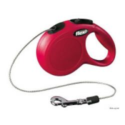 Laisse à enrouleur Flexi New Classic Mini rouge en corde