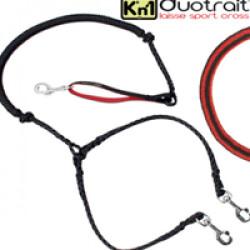 Laisse amortisseur noire / rouge amortisseur Duotrait™ pour 2 chiens