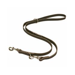 Laisse double cuir chromé noir pour chien Lg 1.20 m x 20 mm