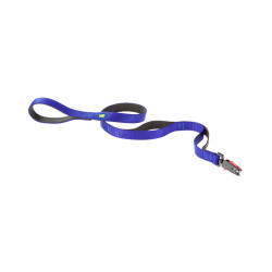 Laisse en nylon double épaisseur avec fermeture automatique Dual Matic G20/120 noire/bleue