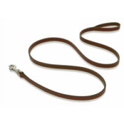 Laisse longue en cuir marron pour chien 16 mm