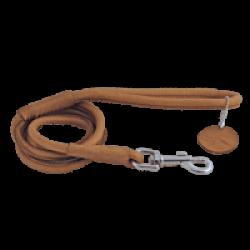 Laisse marron en cuir rond pour chien Chapuis Sellerie