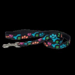 Laisse noire en nylon pour chien motifs pattes Chapuis Sellerie