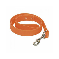 Laisse fluo orange en pvc pour chien Chapuis Sellerie Largeur 25 mm Longueur 1,20 m