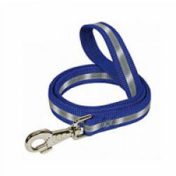 Laisse bleue nylon réfléchissant pour chien Lg 110/56 cm