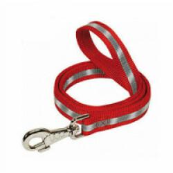 Laisse rouge nylon réfléchissant pour chien Lg 110/56 cm
