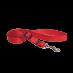 Laisse sangle rouge nylon pour chien avec coutures réfléchissantes Chapuis Sellerie