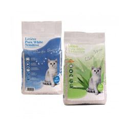 Litière minérale Pure White Sensitive pour chat Sac 15 litres